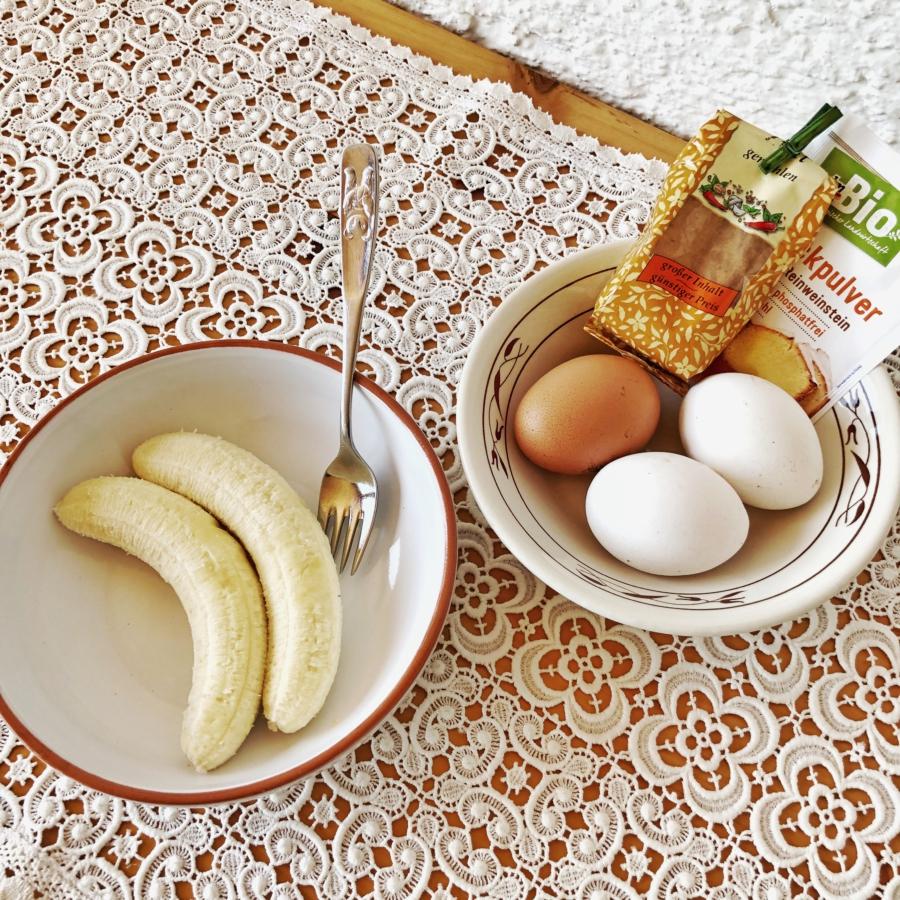Zutaten für zuckerfreie Pfannkuchen