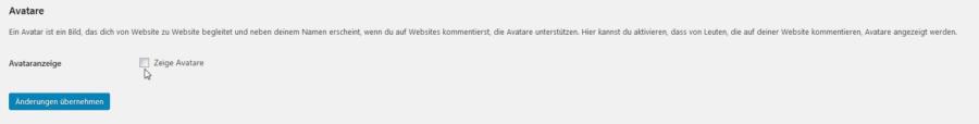 Avatare ausschalten im WordPress